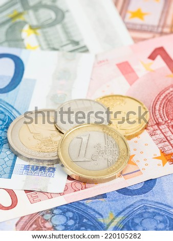 Euro money banknote and coins close-up - stock photo