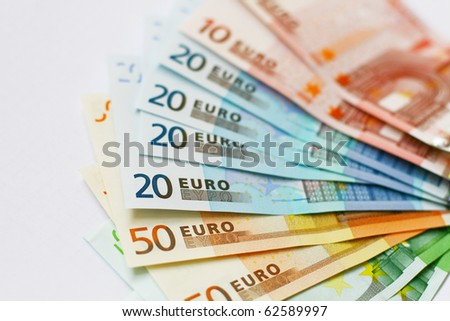 Euro money banknotes isolated on white