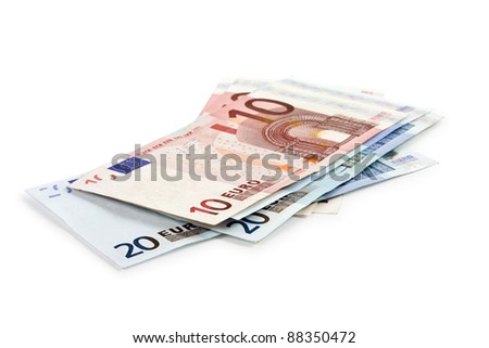 Euro money banknotes isolated on white background