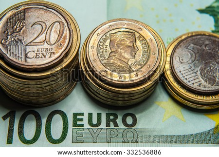 Euro money, coins and banknotes, macro - stock photo