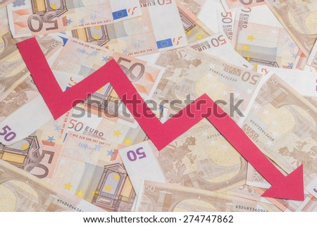 Euro money fall concept, against background made of fifty euro bills - stock photo