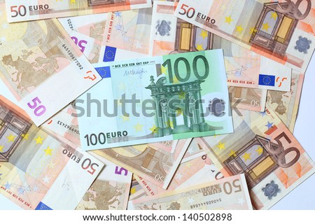 euro money. fifty and one hundred euro bills