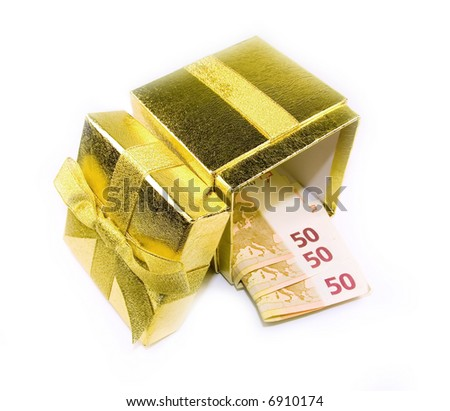 Euro money in golden gift box isolated on white. - stock photo