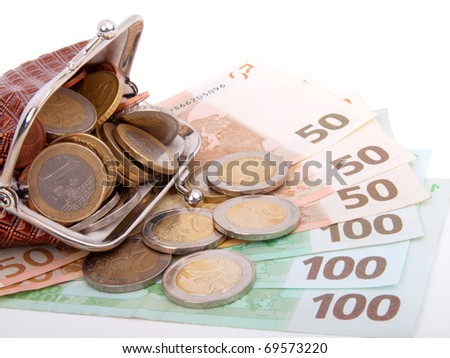 Euro money in purse, isolated on white - stock photo