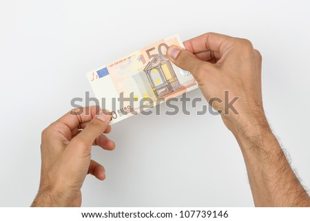 euro money in the hands of man