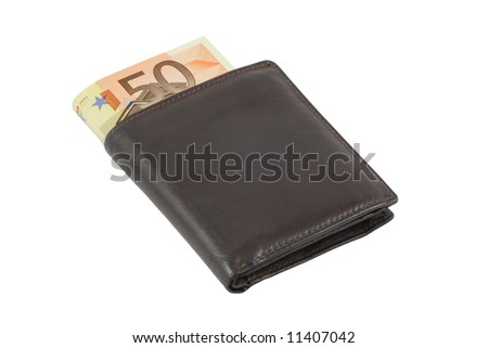 Euro money in wallet - stock photo