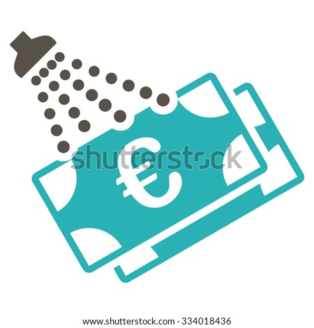 Euro Money Laundry glyph icon. Style is bicolor flat symbol, grey and cyan colors, rounded angles, white background. - stock photo