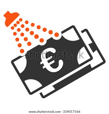 Euro Money Laundry glyph icon. Style is bicolor flat symbol, orange and gray colors, rounded angles, white background. - stock photo
