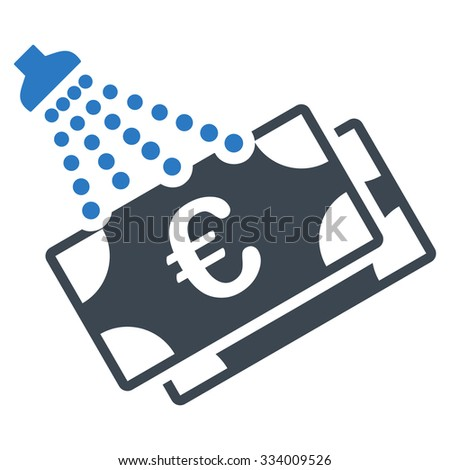 Euro Money Laundry glyph icon. Style is bicolor flat symbol, smooth blue colors, rounded angles, white background. - stock photo
