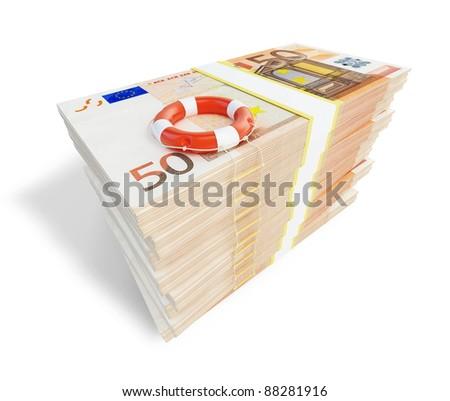 euro money lifeline ladder - stock photo
