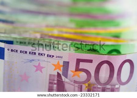 Euro money. Paper bills with shallow DOF - stock photo