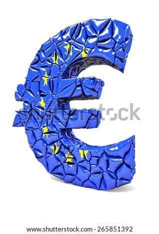 Euro money sign shattered on white background. - stock photo