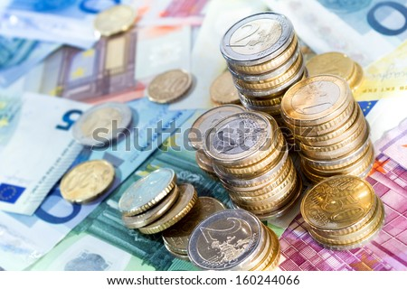 euro money stacks - stock photo