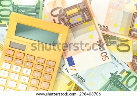 euro money with calculater