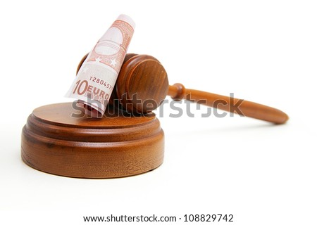 Euro note and court gavel, on white - stock photo