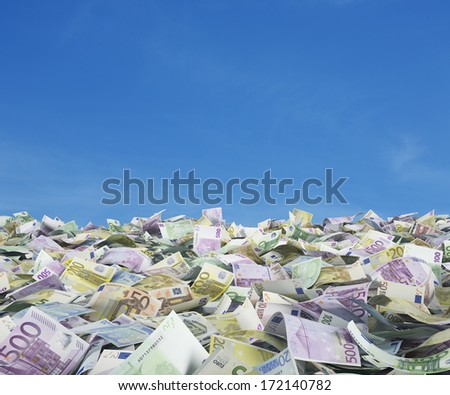 Euro notes at the ground, outside - stock photo