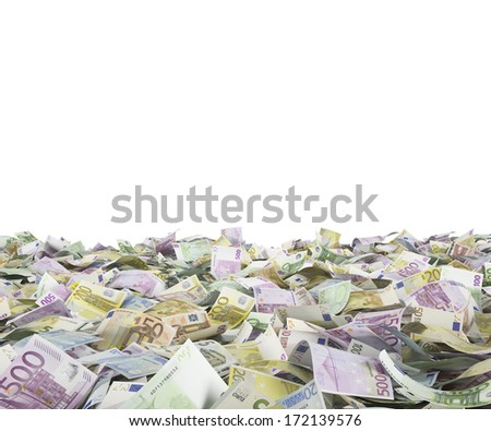 Euro notes at the ground, white background - stock photo