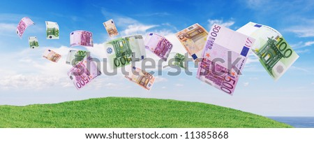 euro notes flying away blue sky as background - stock photo