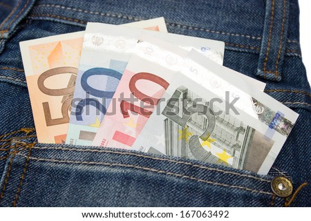 Euro notes in jeans pocket - stock photo
