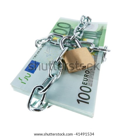 Euro notes with lock and chain. . - stock photo