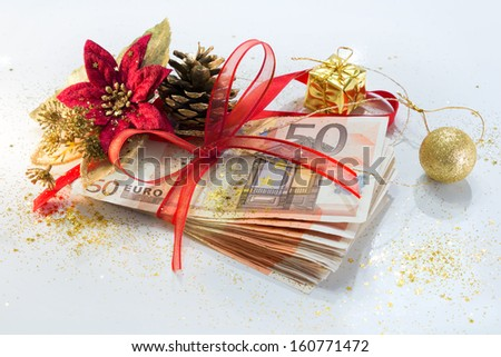 euro package for gift christmas  - stock photo