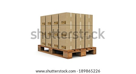 euro pallet with many cardboard boxes on it  isolated on white background - stock photo