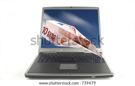 Euro plane going out of a notebook computer.