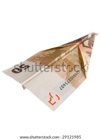 euro plane isolated on white background - stock photo