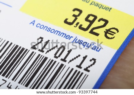 Euro price, bar code, expiration date on a food label product - stock photo