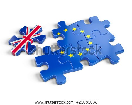 Euro Puzzle and one Puzzle Piece With Great Britain Flag. 3d render - stock photo