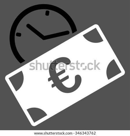 Euro Recurring Payment glyph icon. Style is bicolor flat symbol, black and white colors, rounded angles, gray background. - stock photo
