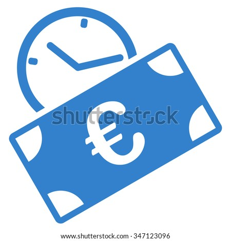 Euro Recurring Payment glyph icon. Style is flat symbol, cobalt color, rounded angles, white background. - stock photo