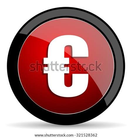 euro red circle glossy web icon on white background, round button for internet and mobile app - stock photo
