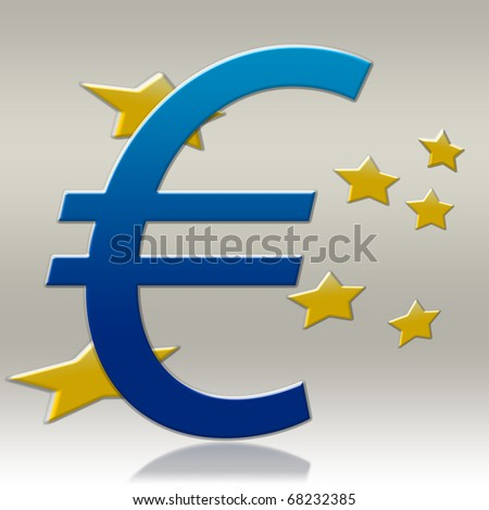Euro Sign - Blue Color - stock photo