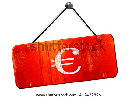 euro sign, 3D rendering, vintage old red sign - stock photo