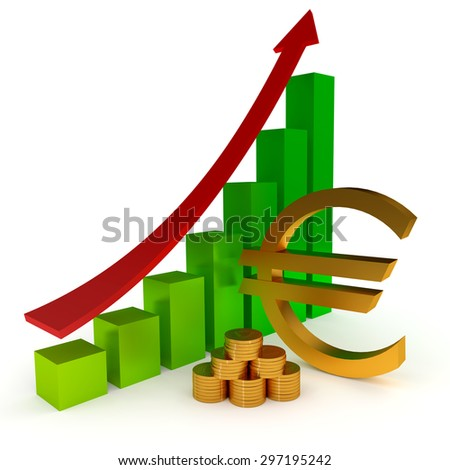 Euro sign Diagram business, 3d illustration on the white - stock photo