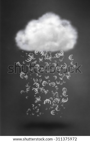 euro sign falling from cloud - stock photo