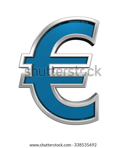 Euro sign from blue glass with chrome frame alphabet set, isolated on white. Computer generated 3D photo rendering.
