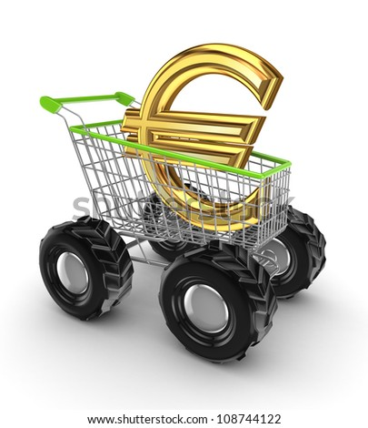 Euro sign in a shopping trolley.Isolated on white background.3d rendered. - stock photo