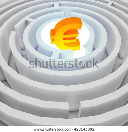 Euro sign in the centre of the maze. 3D illustration - stock photo