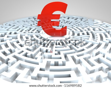 Euro sign in the middle of a maze