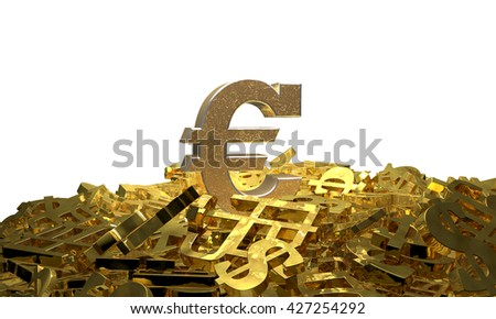 Euro sign on a pile of other currency symbols. 3D illustration - stock photo