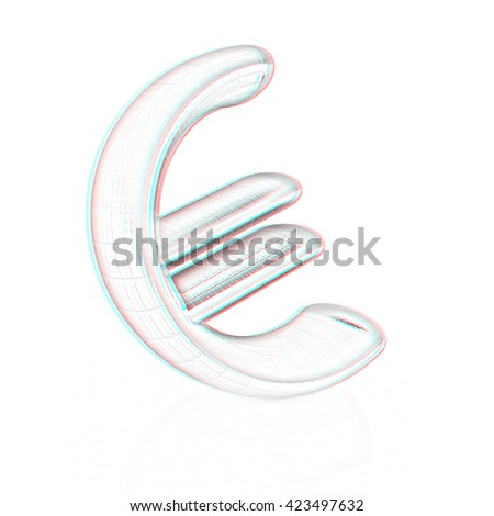 euro sign on a white background . Pencil drawing. 3D illustration. Anaglyph. View with red/cyan glasses to see in 3D. - stock photo