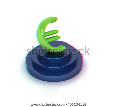 Euro sign on podium. 3D icon on white background. 3D illustration. Anaglyph. View with red/cyan glasses to see in 3D. - stock photo