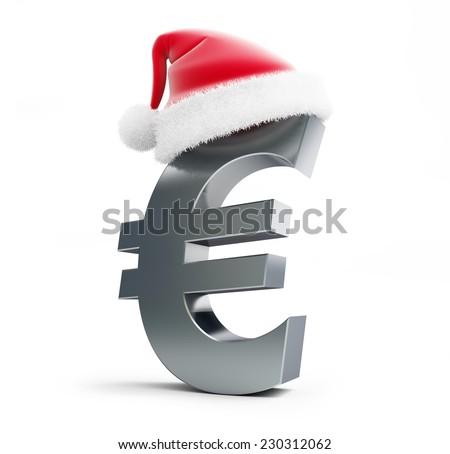 euro sign santa hat on a white background - stock photo