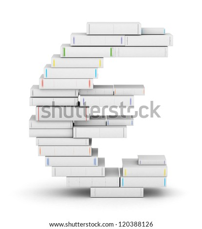 Euro sign , stacked from many blank title books in column - stock photo