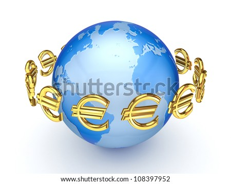 Euro signs around globe.Isolated on white background.3d rendered. - stock photo