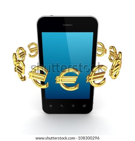 Euro signs around modern mobile phone.Isolated on white background.3d rendered. - stock photo