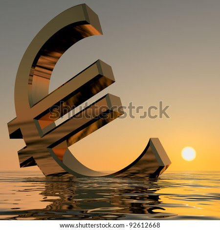 Euro Sinking And Sunset Showing Depression Recession And Economic Downturns - stock photo