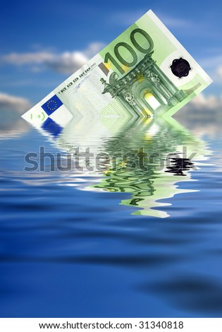 Euro sinking- hard economy times - stock photo